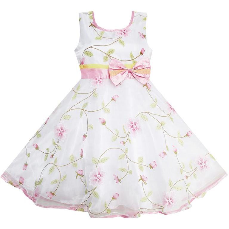 Dívky Šaty Květinové Listy Svatební Bílé Stránantky Svatební - Dětské oblečení