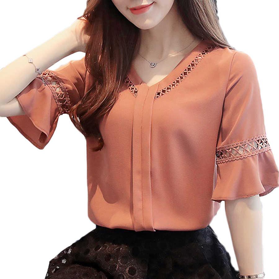 Korean Fashion Clothing Top Chiffon Women Casual Vintage Ruffle