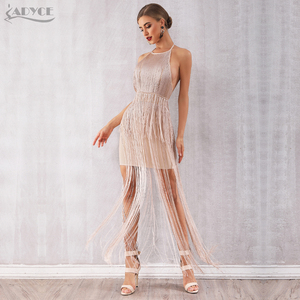 Image 3 - Adyce 2020 ฤดูร้อนใหม่FringeชุดสตรีVestidosเซ็กซี่Celebrity Eveningรันเวย์ชุดNude Maxi Tasselsชุดคลับ