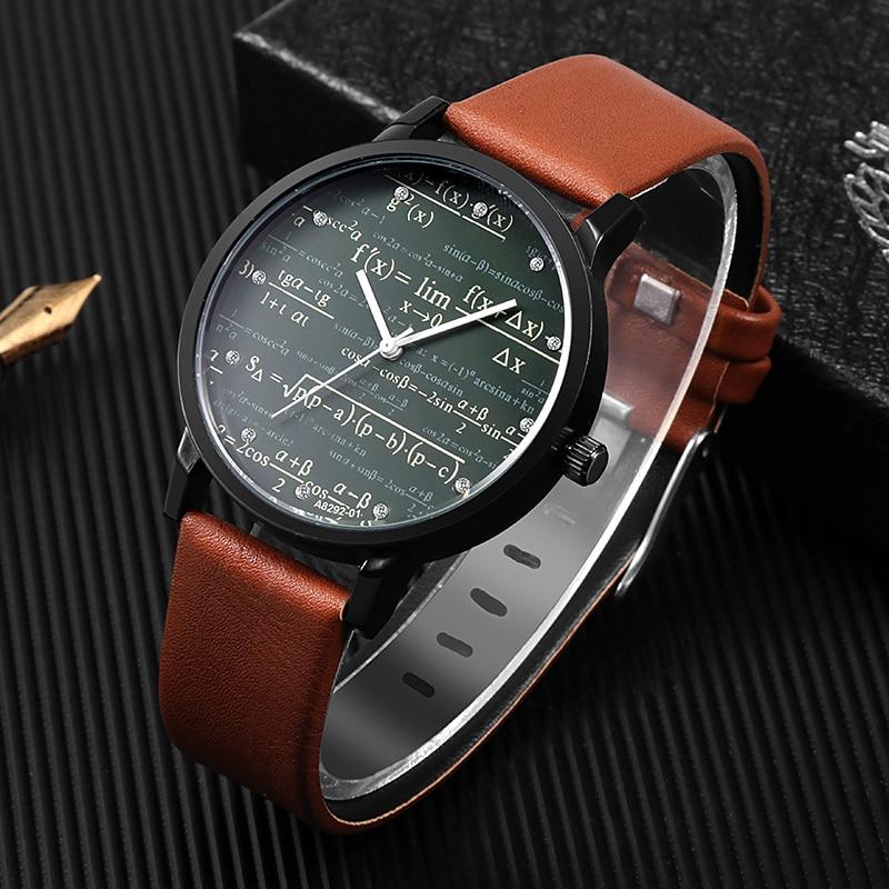 Miler Mens Watch Leather Quartz Mathe Matical Formula Prints Fashion Wrist Watch Men Causal Relogio Masculino Erkek Kol Saati