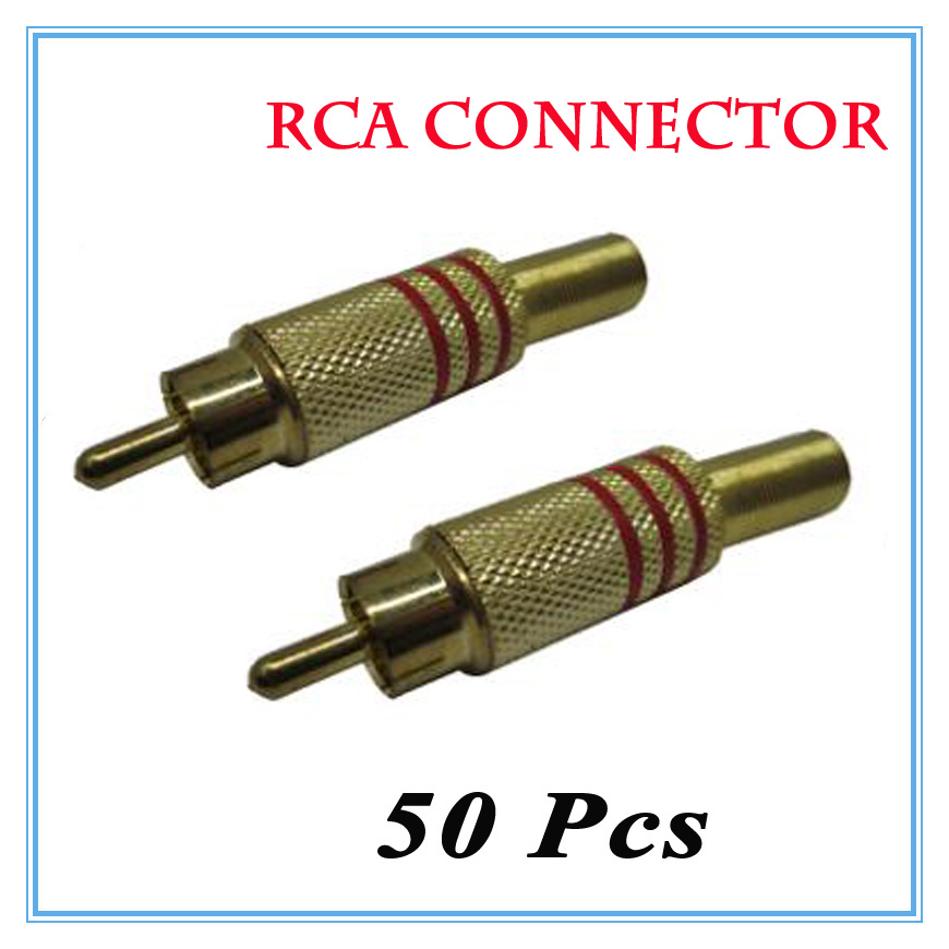 50Pcs/lot High quality gold-plated solder-free spring  RCA connector RCA plug Surveillance Accessories free shipping 4 colour gold plated rca socket rca connector 8pcs lot