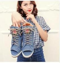 2016 new denim is bottom thick waterproof with wedge open-toed sandals in raising fish mouth shoes sexy fashion high heels