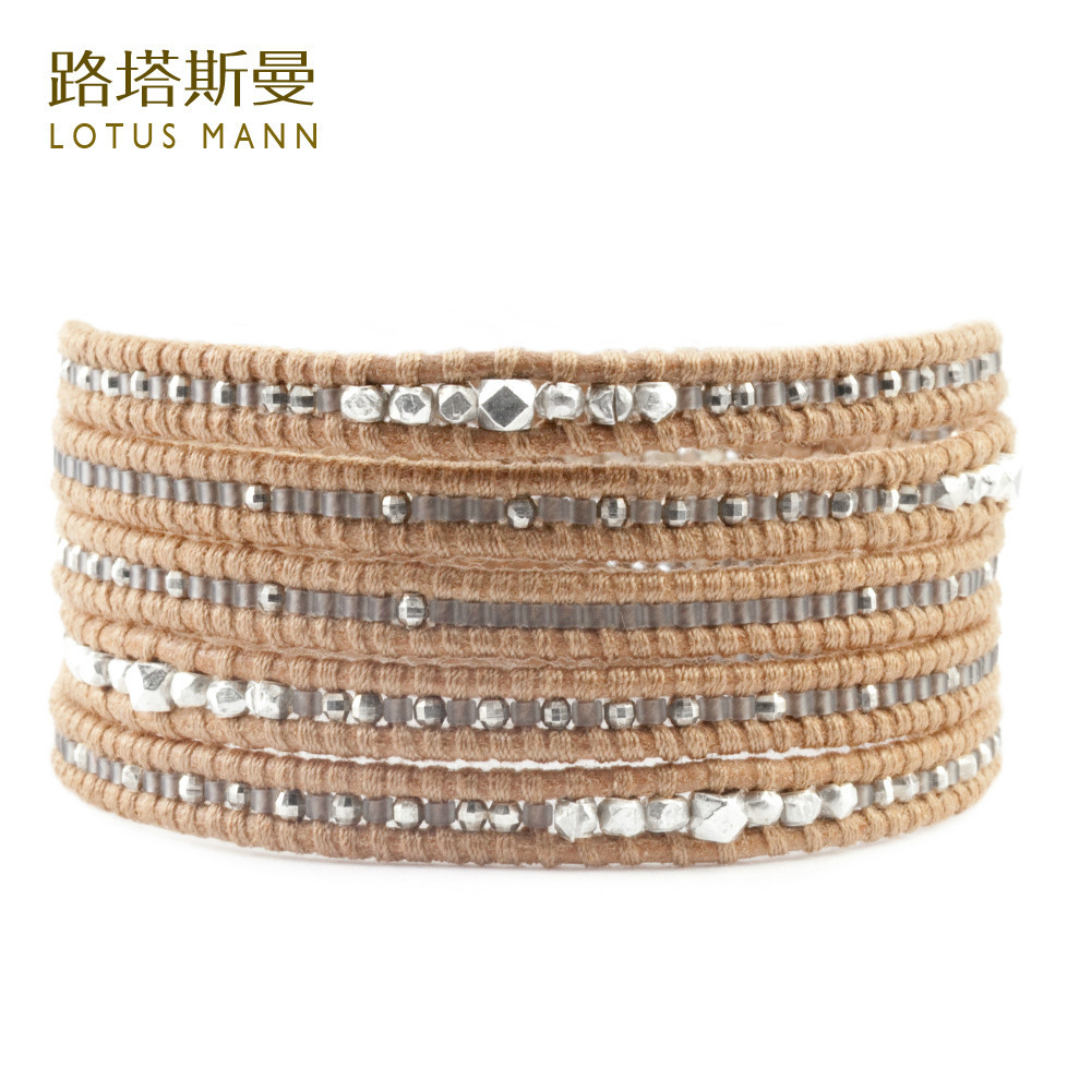 Lotus Mann Frosted grey m beads with manual 925 silver 5 brown color leather cord bracelet цена