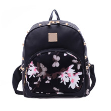 Causal High Quality Floral Printing PU Leather Backpack Fashion Women Travel Backpacks School Bag for Teenager