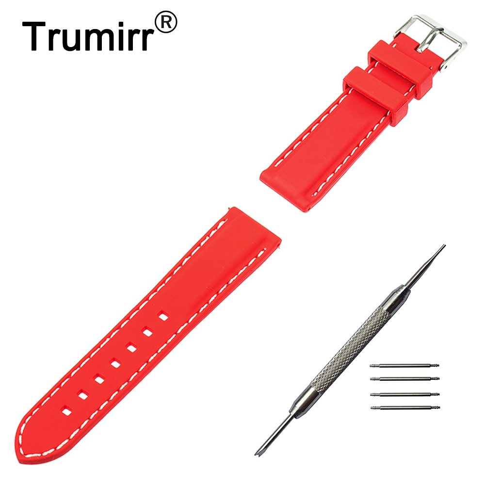 19mm 20mm 21mm 22mm Silicone Rubber Watchband Universal Watch Band Bracelet Strap with Tool and Spring Bar Black Red 20mm 22mm 23mm 26mm silicone rubber watch band for seiko watchband resin strap wrist loop belt bracelet black spring bar tool