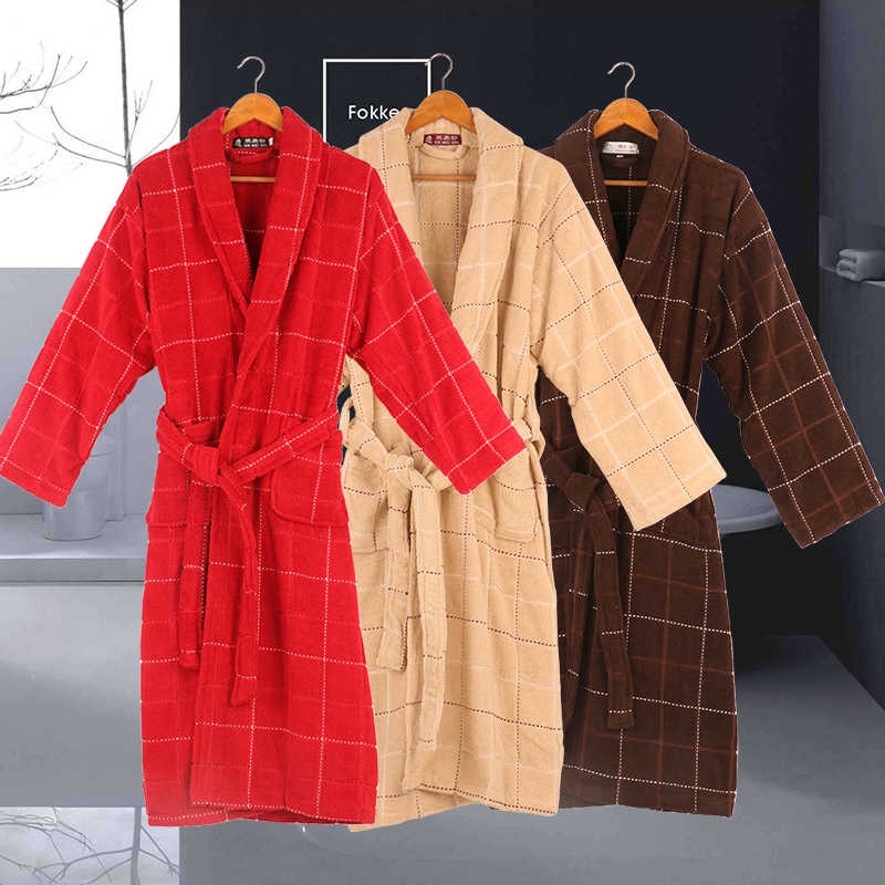 ff3b62a36d Cotton bathrobe women Towel Thick Warm Couples Men Long Quilted Bathrobe  For Bridesmaids Adult Bath Clothes