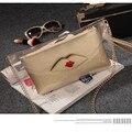Labios Día Embrague Bolsos de Noche para Las Mujeres Del Partido de Moda Compuesto Transparente Hombro Crossbody Bolsa de PVC Transparente bolsa feminina Q100