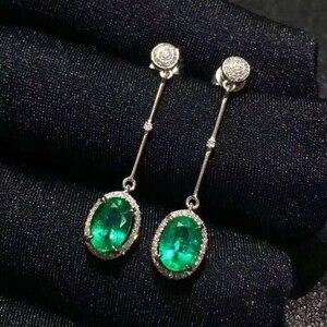 Image 5 - [MeiBaPJ] הטבעי קולומביה אמרלד חן Drop עגילי נדל 925 כסף אופנה עגילי תכשיטי קסם עבור נשים