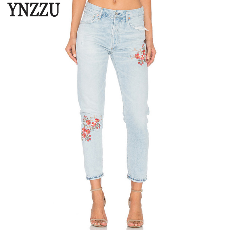 YNZZU Elegant Flower Embroidery Jeans Female Light Blue Casual Pants Spring Summer Pockets Straight Jeans Women Bottom YB064 flower embroidery jeans female light blue casual pants capris 2017 spring autumn pockets straight jeans women bottom