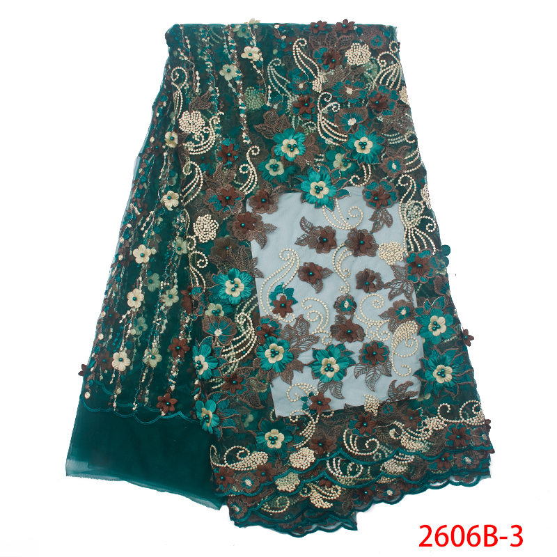 3D Flowers High Quality Nigerian French Lace Embroidered Tulle Lace Fabric for Wedding Dress Latest Green