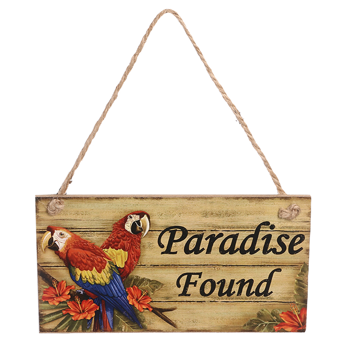 Us 6 13 25 Off Hawaii Beach Themed Party Paradise Found Rectangle Vintage Home Decor Sign Wooden Plaque Hanging Wall Sign Decoration In Party Diy