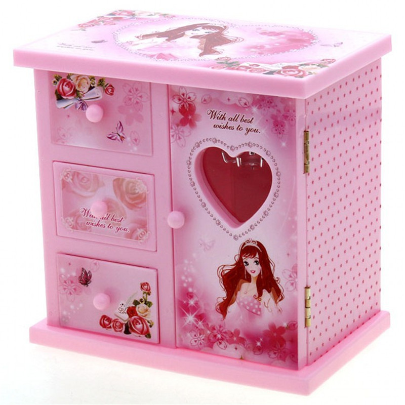 Love girl ballerina music box clockwork dancing girls for Girls large jewelry box