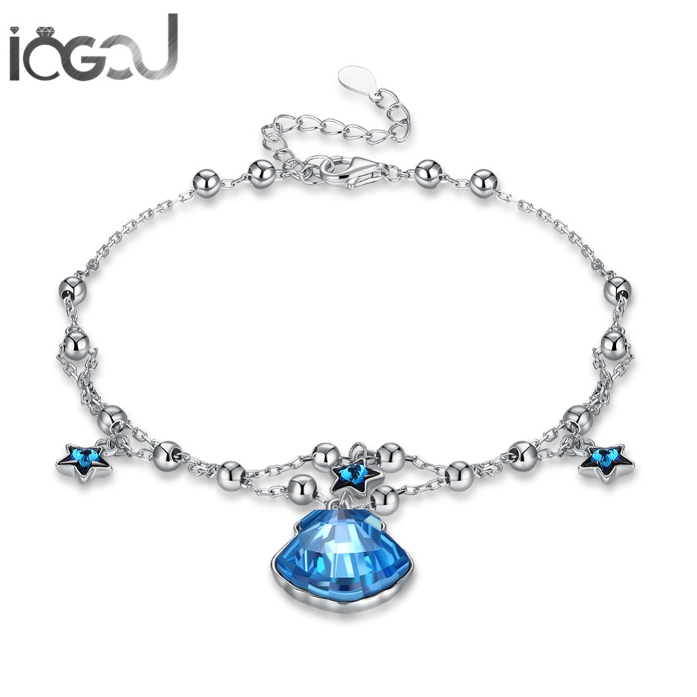 IOGOU 925 Sterling Silver Blue Cushion Crystals from Swarovski Bracelets Wedding Engagement Brithday Girl's Gifts Wholesales