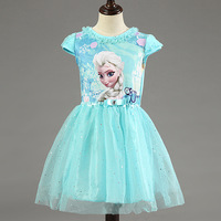 New High Quality Elsa Anna Dress Girls Dress Cosplay Party Dresses Princess Tutu Children Baby Kids