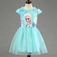 New High Quality Elsa Anna Dress Girls Dress Cosplay Party Dresses Princess Tutu Children Baby Kids