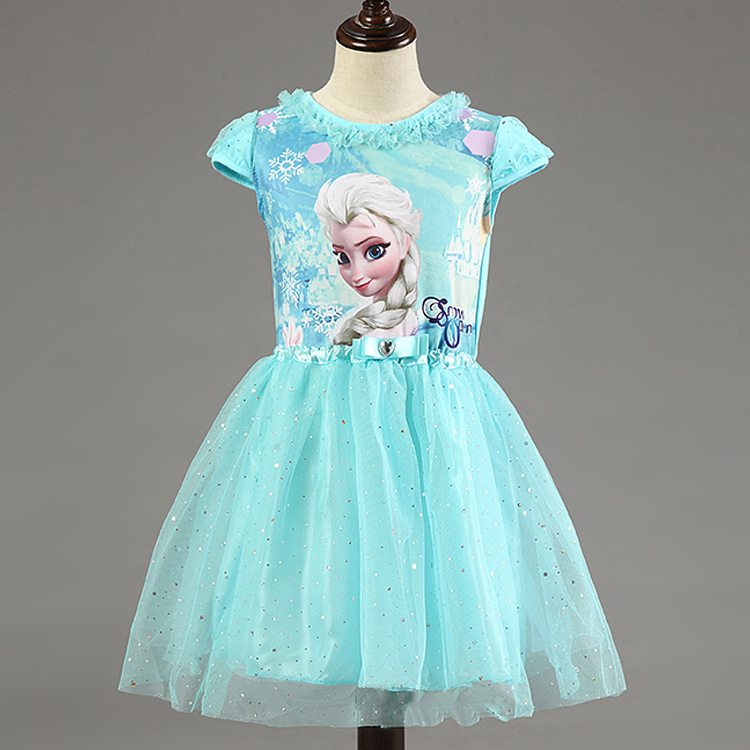 New High Quality Elsa Anna Dress Girls Dress Cosplay Party Dresses Princess tutu Children Baby Kids Vestidos Fever Dress