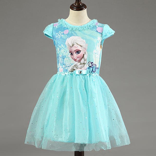 New High Quality Elsa Anna Dress Girls Dress Cosplay Party Dresses Princess tutu Children Baby Kids Vestidos Fever Dress