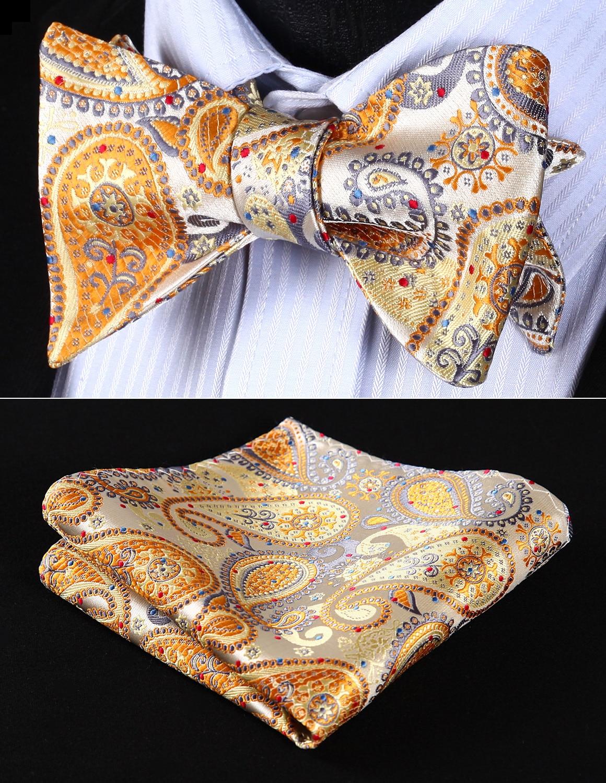 BP706YS Yellow Gray Paisley Bowtie Men Silk Self Bow Tie Handkerchief Set Pocket Square Party