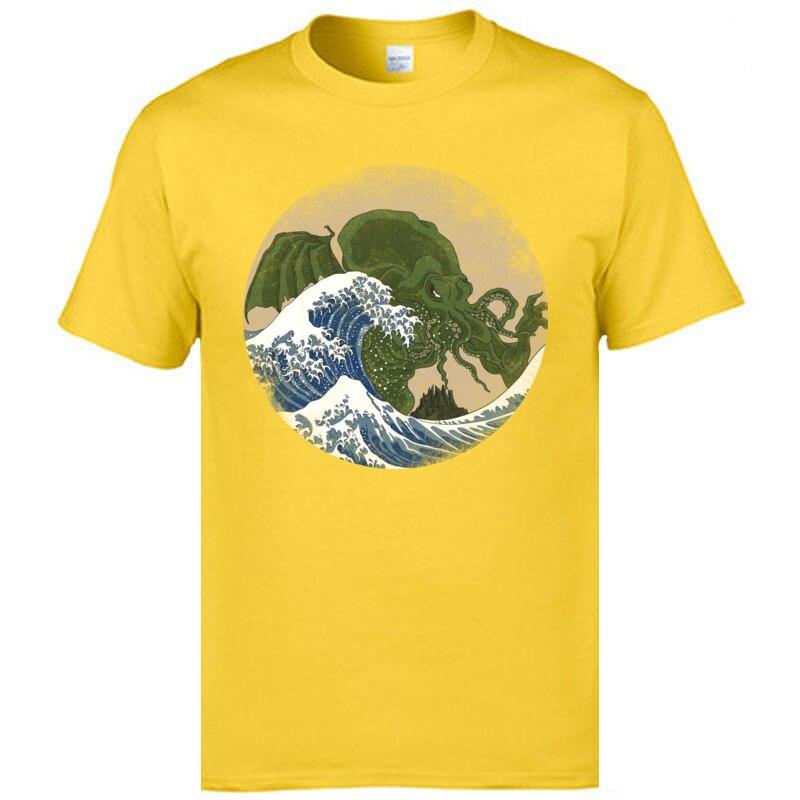 Slim Fit Hokusai Cthulhu T-shirts Hip Hop Mother Day Short Sleeve Round Collar Tees Cotton Fabric Men Print Tops T Shirt Hokusai Cthulhu yellow