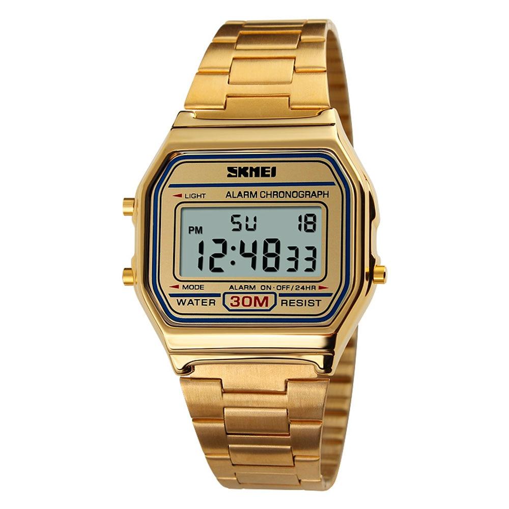 1123 LED Digital Sports Watches Mens Stainless Steel Waterproof Wristwatch  Sport Wrist Watch