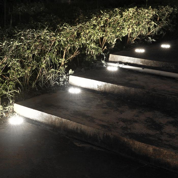 4 Pcs/set  LED Solar Power Buried Light 8 LEDs Ground Lamp Outdoor Path Way Garden Decor White Four 10