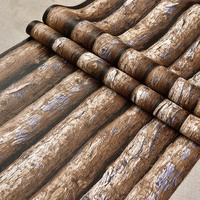 beibehang 3D Stereo Simulation Wood Grain PVC Thick Wallpaper Hotel Cafe Bark Trunk Round Wood Background Wallpaper