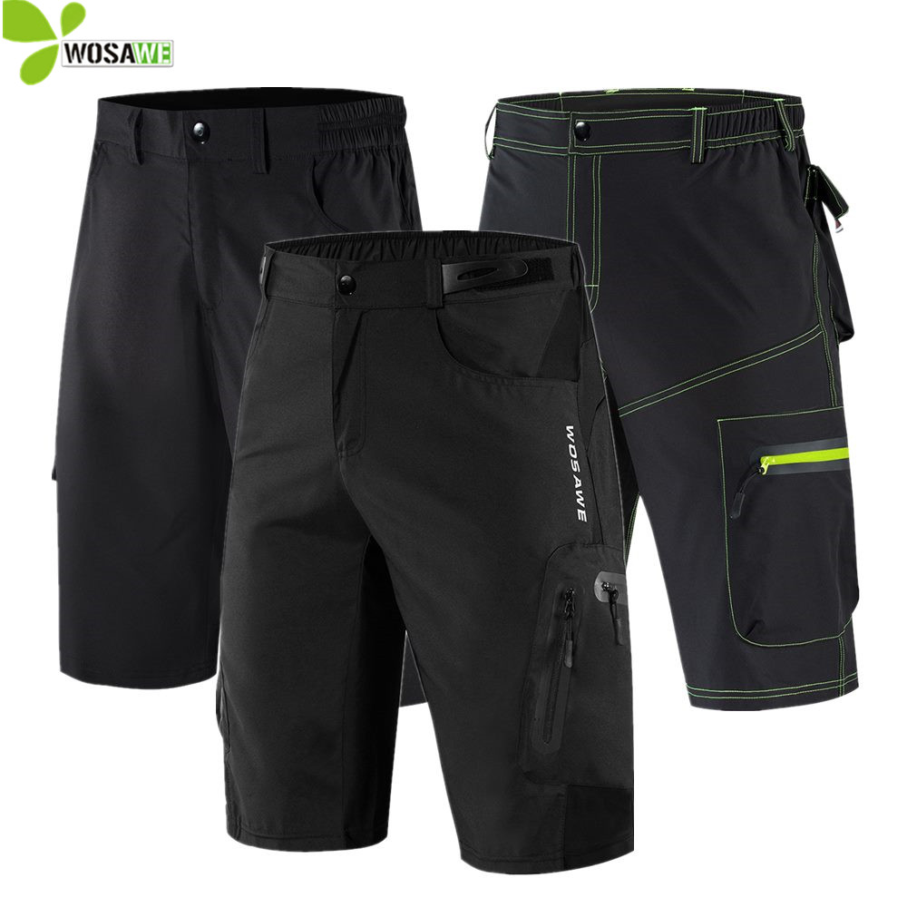 WOSAWE Summer Mens Cycling Shorts Road MTB Bike Loose Water Repellent Beach Sports Riding Bicycle Downhill Gel