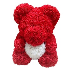 Lovely Big Red Rose Flower Bear Toys Ornaments Gifts for Valentiness Day 25cm KM88