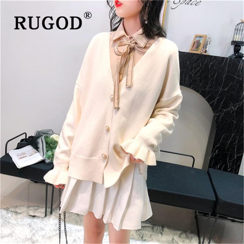 RUGOD Korean sweet knitted cardigan women Elegant V neck flare sleeve loose streetwear female chompas para mujer 2019 in Cardigans from Women 39 s Clothing
