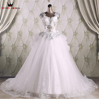 Custom Size Ball Gown Ruffle Train Lace Crystal Beading Luxury Real Wedding Dresses Robe De Mariee