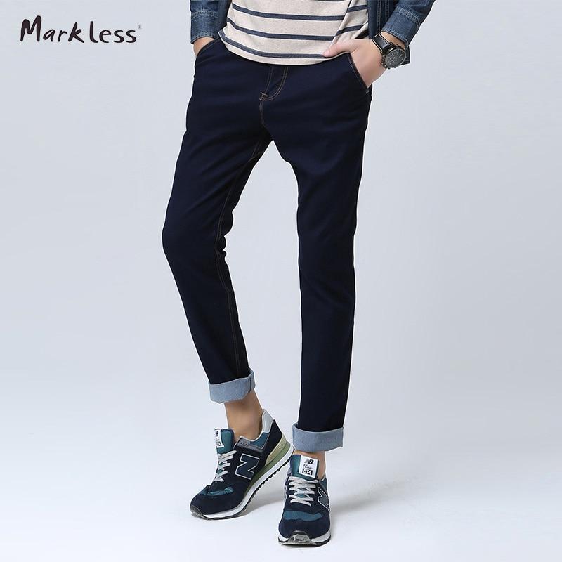 Markless Fashion Men s Slim Jeans Male Dark Blue Denim Casual Trousers All match Men Jeans