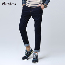 Markless Fashion Men s Slim Jeans Male Dark Blue Denim Casual Trousers All match Men Jeans