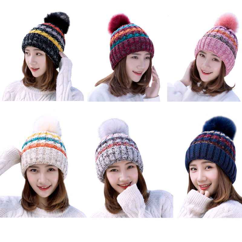 f97635f5aa2 ... Women Men Winter Ribbed Knitted Bobble Hat Three Stripes Contrast Color  Plain Woolen Cuffed Beanie Cap ...