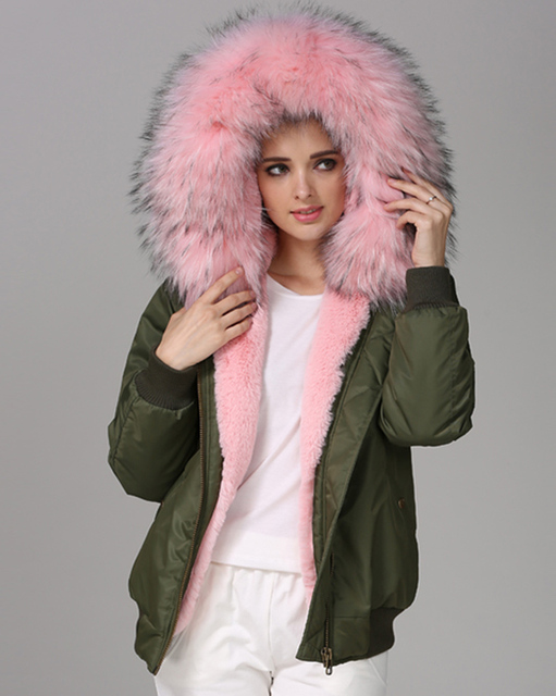 545e1566fa3 Roiii Thicken Warm Faux Fur Warm Parka Baby Pink Women Hooded Hip Top  Winter Polo Bomber Zipper Jacket Coat Overcoat Size S-3XL