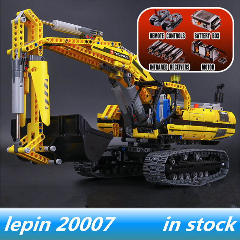Lepin 20007 lepin Technic MOTORIZED EXCAVATOR Building Blocks Motors Power Functions Legoing Technic MOTORIZED EXCAVATOR 8043 196pcs building blocks urban engineering team excavator modeling design