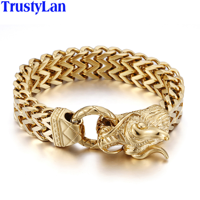 Trustylan Punk Rock 25cm Dragon Head Mens Bracelets Bangles 2017 Gold Color Stainless Steel Chain
