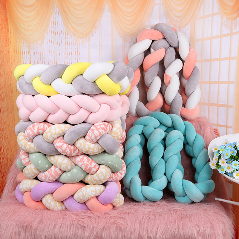 1Pcs 1M/2M/3M Baby Handmade Nodic Knot Newborn Bed Bumper Long Knotted Braid Pillow Baby Bed Bumper Knot Crib Infant Room Decor 2m length nodic knot newborn bumper long knotted braid pillow baby bed bumper in the crib infant room decor