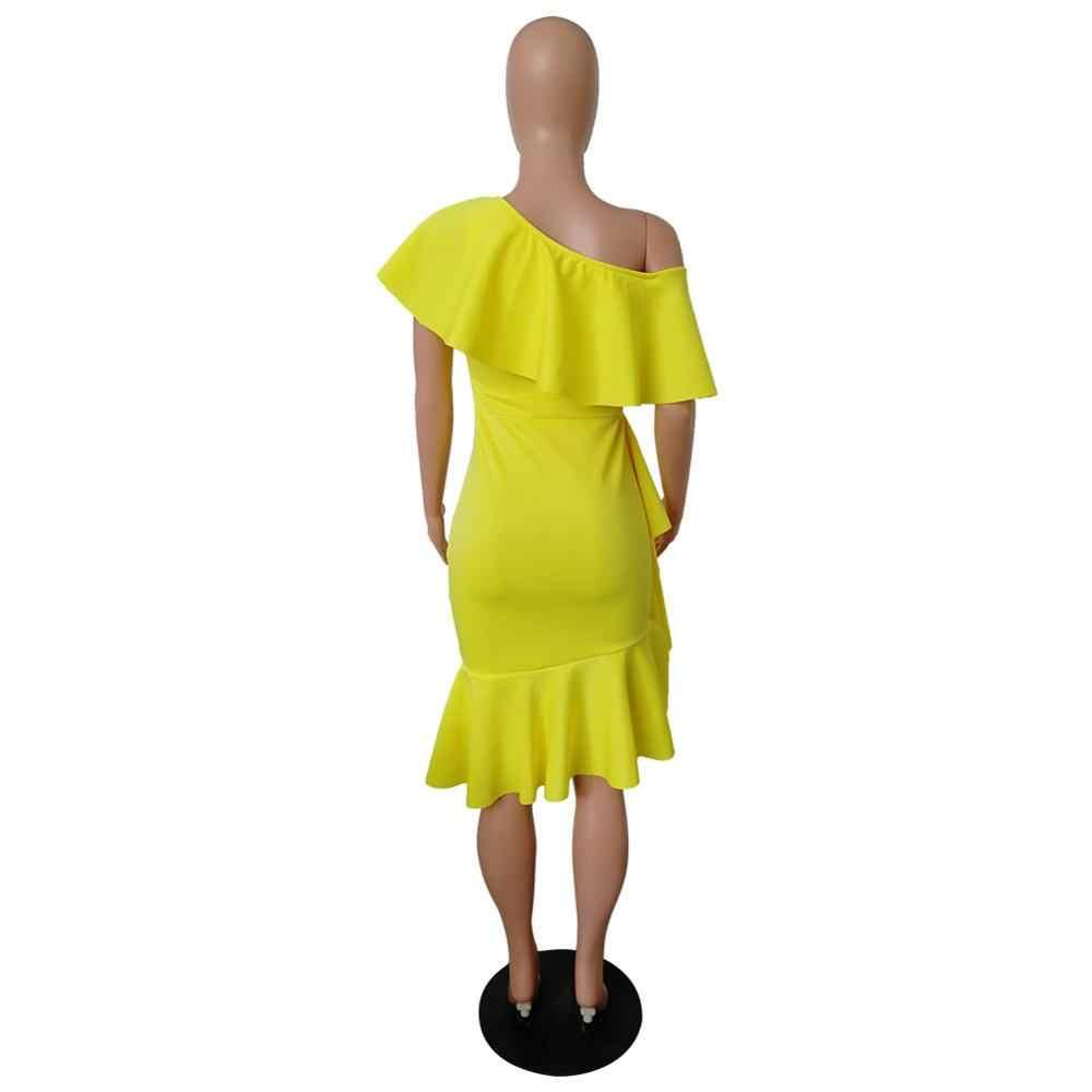 Летние асимметричные вечерние платья с оборками, желтое платье 2019, красное, сексуальное, Клубное, вечернее платье средней длины с одним плечом, большие размеры