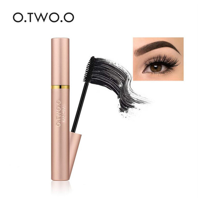 4627fe12672 O Thick Lengthening Mascara Long Black Lash Eyelash Extension Eye Lashes 2  Brushes Makeup Long-wearing Fast Dry