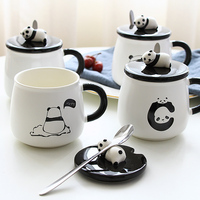 Cute lazy panda cup Panda ceramic mug Nice animal ceramic cup Black and white Nice gift mug