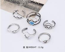 6PCS/Set Vintage Turkish Beach Punk Geometry Ring Set
