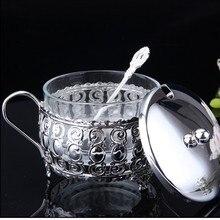 Europäische Küche silber überzogene gewürze salz sucrier hochzeit kaffeetasse glas zuckerdose/topf löffel mit deckel