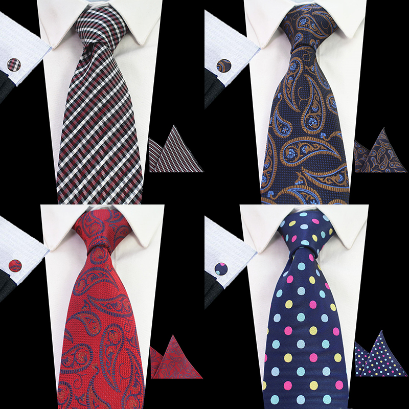 RBOCOTT New Fashion Tie Blue Paisley & Floral Necktie Heren 8cm Tie Hanky ​​Manchetknopen Set Plaid & Dot Red Wedding Neck Ties Bruin
