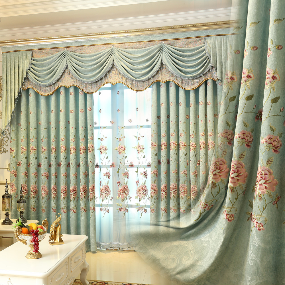 Europe luxury villa valance floral embroidered blackout curtain for living room window decoration china