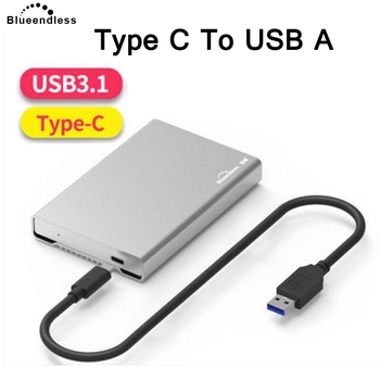 Blueendless Hdd Enclosure Case 2.5' Sata to USB 3.1 Type C to USB Aluminum HDD Caddy Box for Laptop Hard Drive Enclosure 2nd hdd caddy 9 5mm sata to sata aluminum ssd drive case dvd cd rom case for dell e6400 laptop notebook