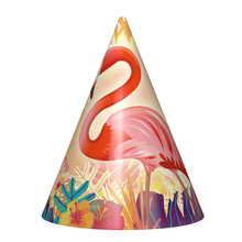 12pcs Flamingo theme Birthday paper Caps with strings for Kids party hat Cheering supplies decoration