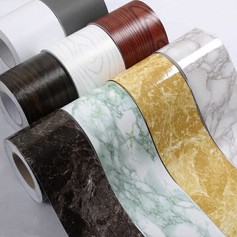 5M Self-Adhesive Baseboard Waterproof Living Room Bathroom Waistline Border Rustic Tile Wall Stickers Modern Wallpaper Borders
