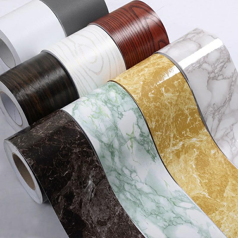 5M Self-Adhesive Baseboard Waterproof Living Room Bathroom Waistline Border Rustic Tile Wall Stickers Modern Wallpaper Borders