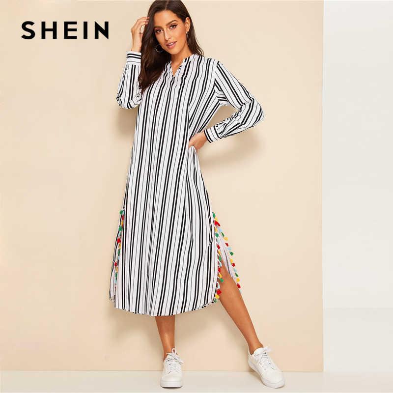 SHEIN женское Полосатое Платье-туника с v-образным вырезом и разрезом по бокам, с кисточками, с длинным рукавом, весна-осень, с v-образным вырезом, черно-белые платья H