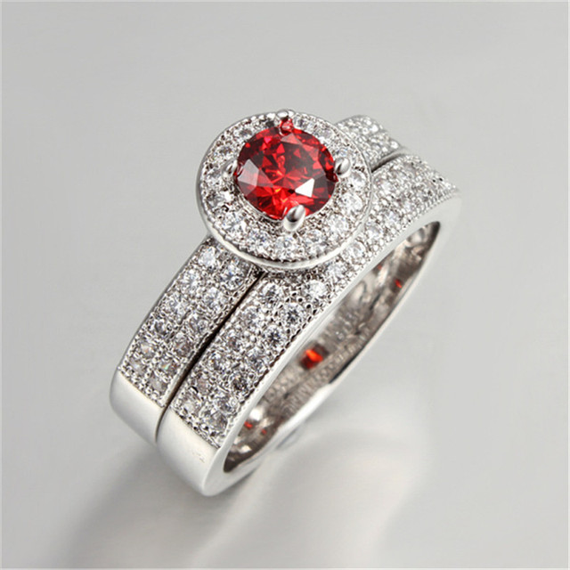 Two Piece Bridal Sets Double Rings Wedding Ring Red CZ Stone Party